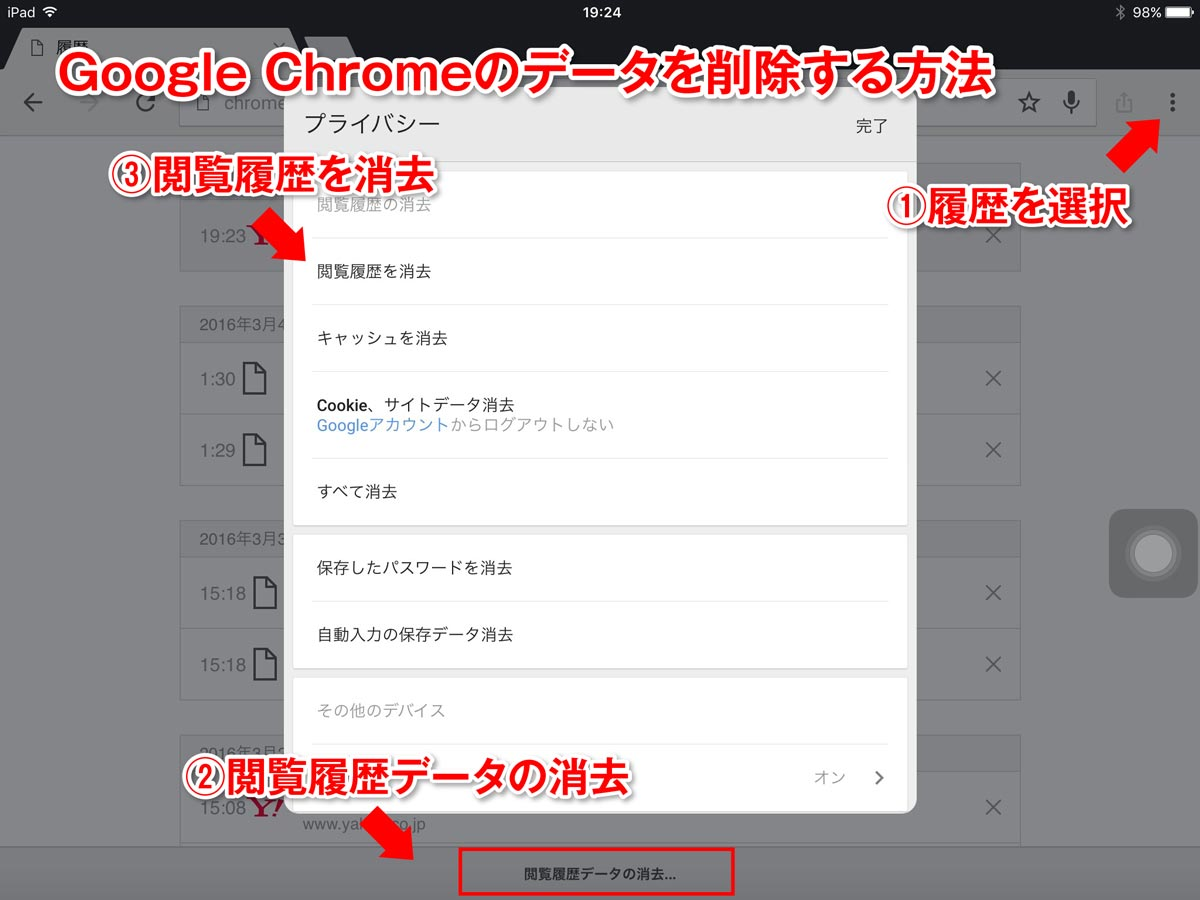 Google Chrome 履歴削除