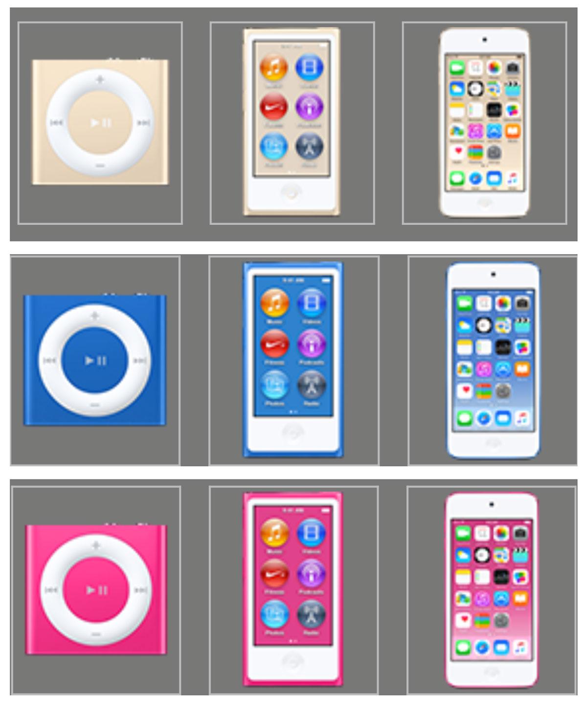 iPod シリーズ 新カラー