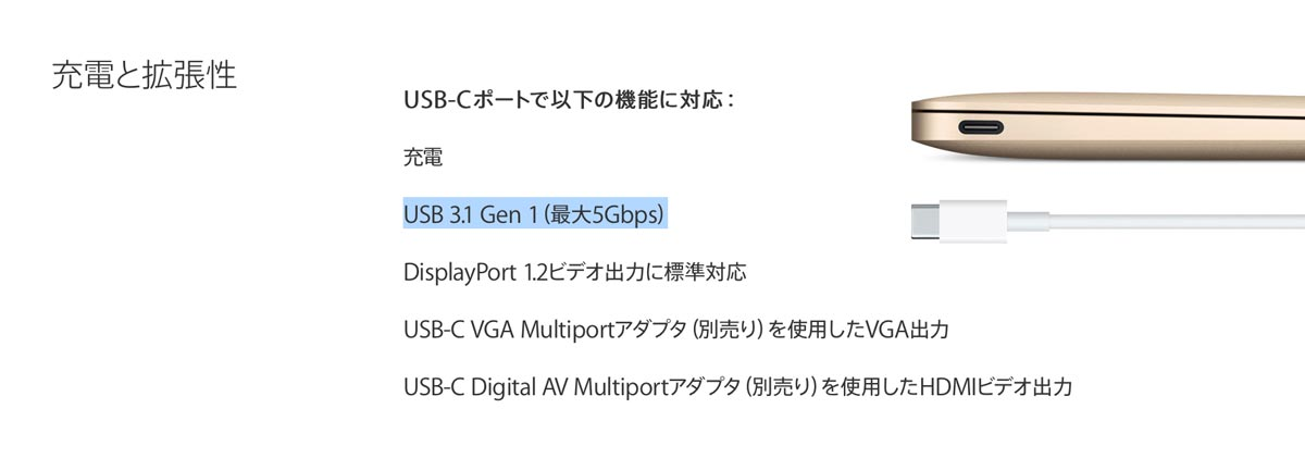 Macbook usb3.1 転送速度5GB