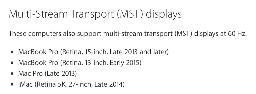 Macbook4k MST (マルチストリームトランスポート) モード
