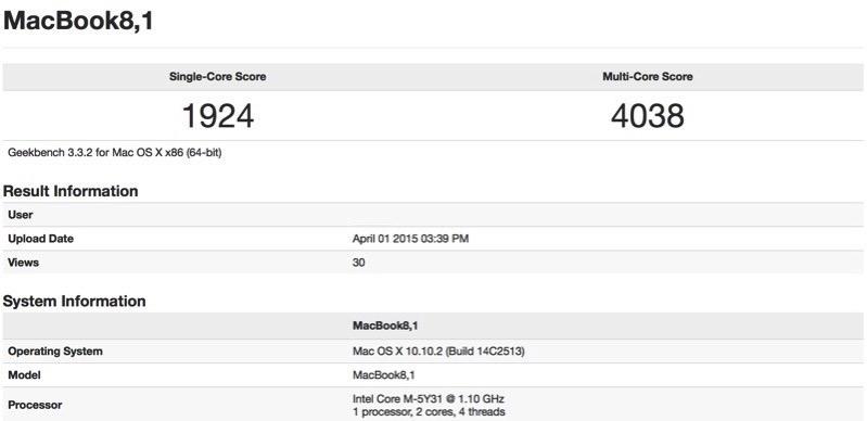 Macbookbenchmark 12インチ