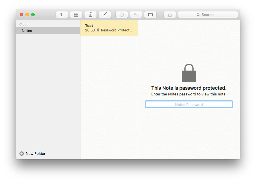 OS X 10.11.4 El Capitan メモアプリ