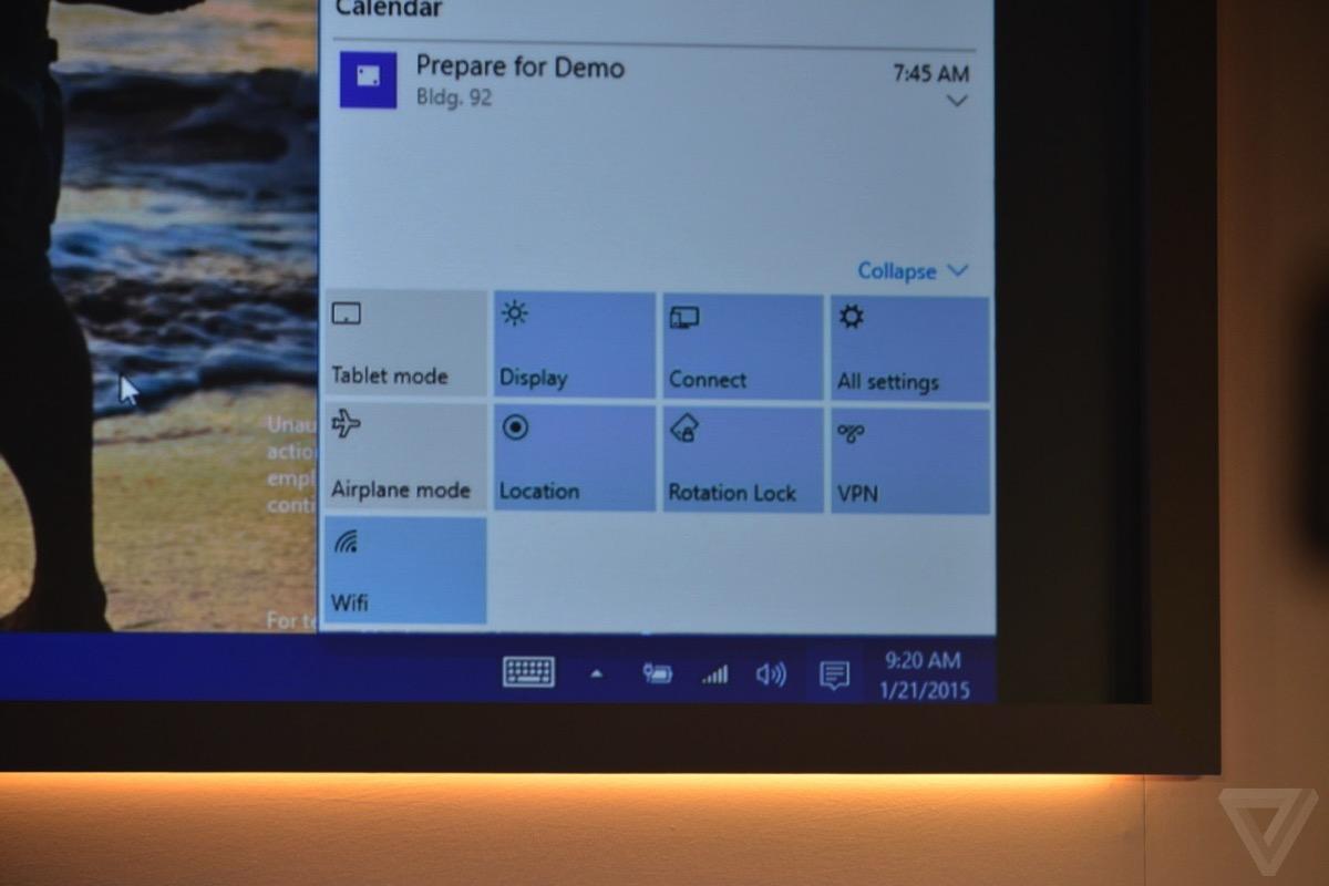 windows 10 通知センターから各設定