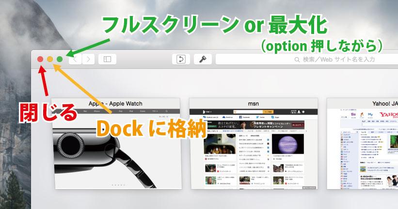 ウィンドウの最大化 OS X Yosmite