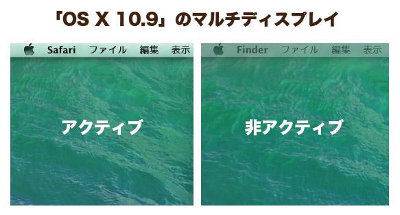 OS X 10.9 マルチディスプレイ